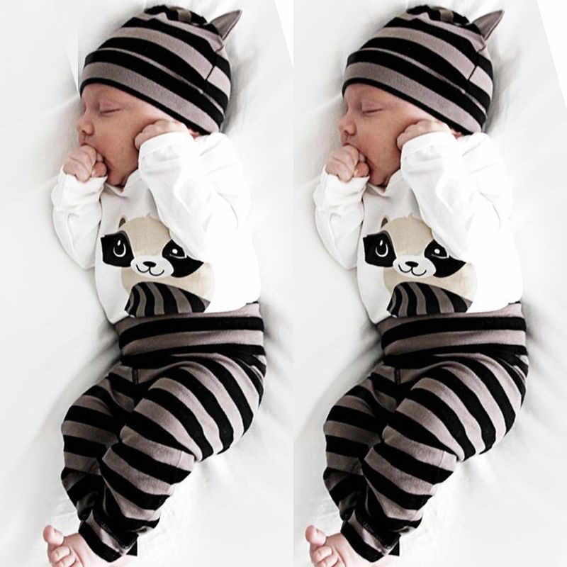 3 個男の子女児誕生キャップ + ジャンプスーツ + パンツセット新子供服少年少女こと服のコットンロングスリーブ