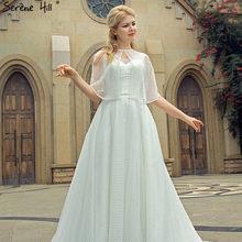 White V-Neck Sleeveless Yarn Shawl Evening Dresses New Fashion Beading Sexy  A-Line Evening Gowns 2019 Real Photo 2bad73f7b228