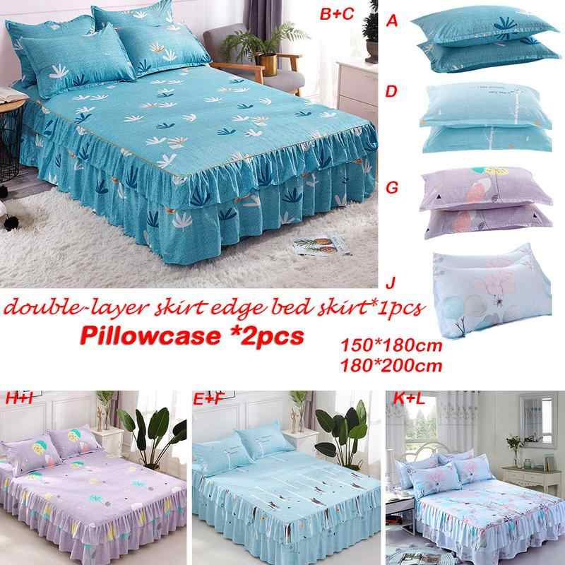 1.5/1.8m Flower Printed Single Double Bed Mattress Cover Petticoat Twin Full Queen Bed Bedspread Bedding Sets