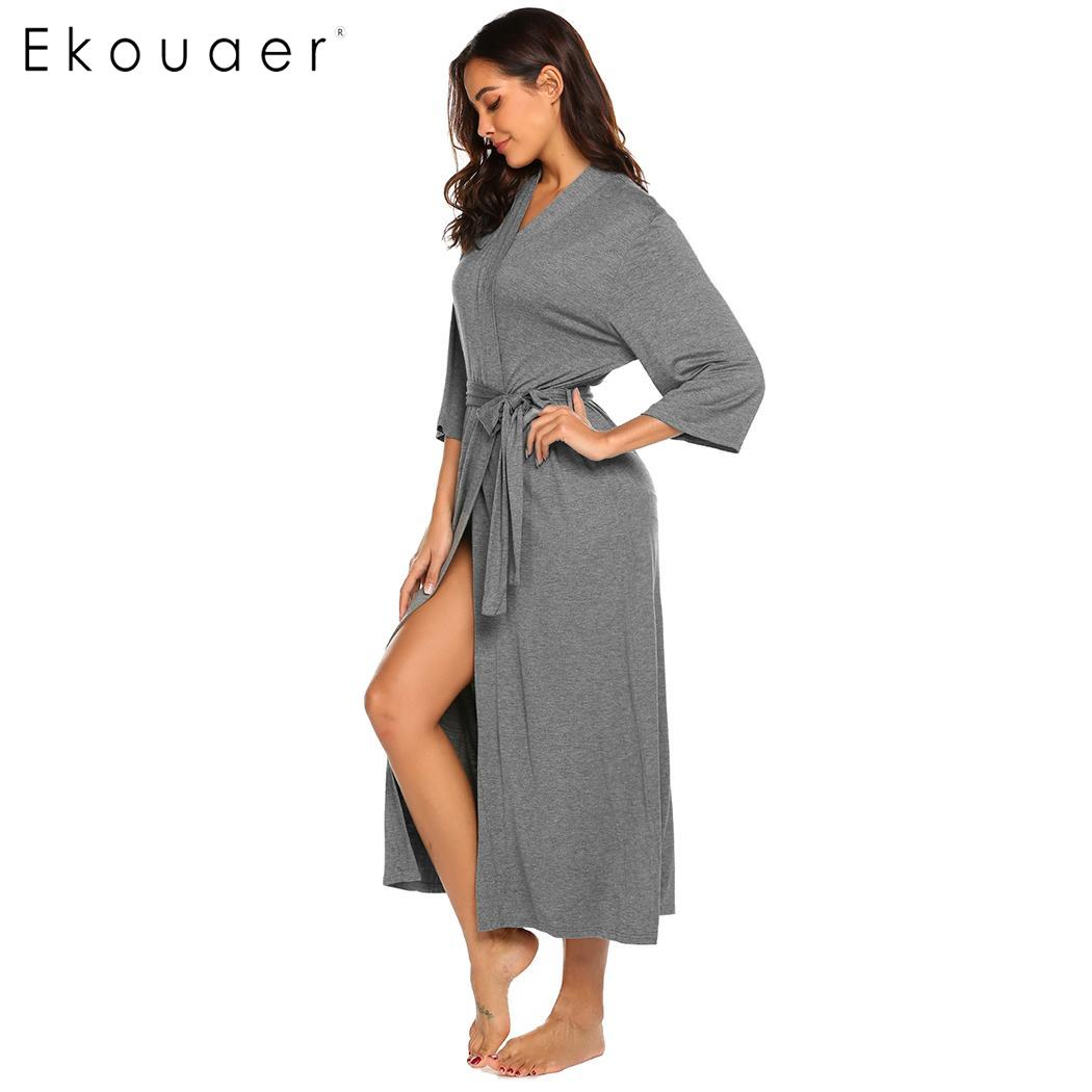 Image 4 - Длинное платье Ekouaer, с треугольным вырезом и длинным рукавом, ночная рубашка, Женские однотонные Повседневные Удобные свободные халатыХалаты    АлиЭкспресс