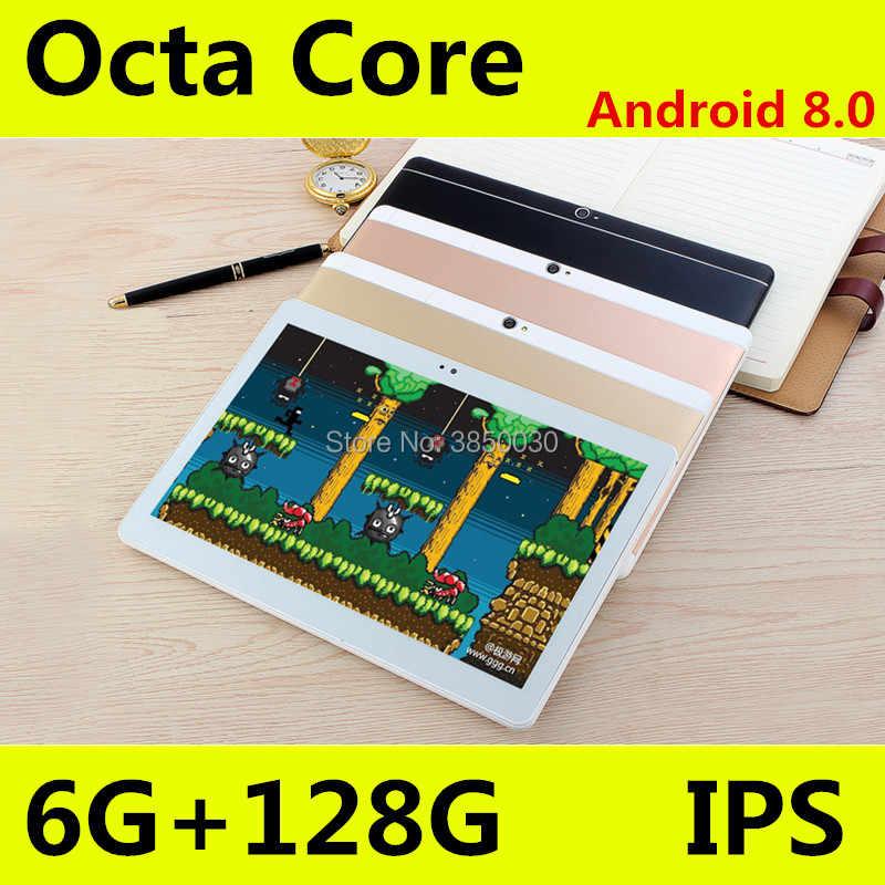 錠アンドロイド 8.0 タブレット 10 インチ Google の再生 IPS 画面オクタコア SIM 3 グラム 4 4G LTE 無線 LAN GPS RAM 4 ギガバイト 128 ギガバイトのタブレット