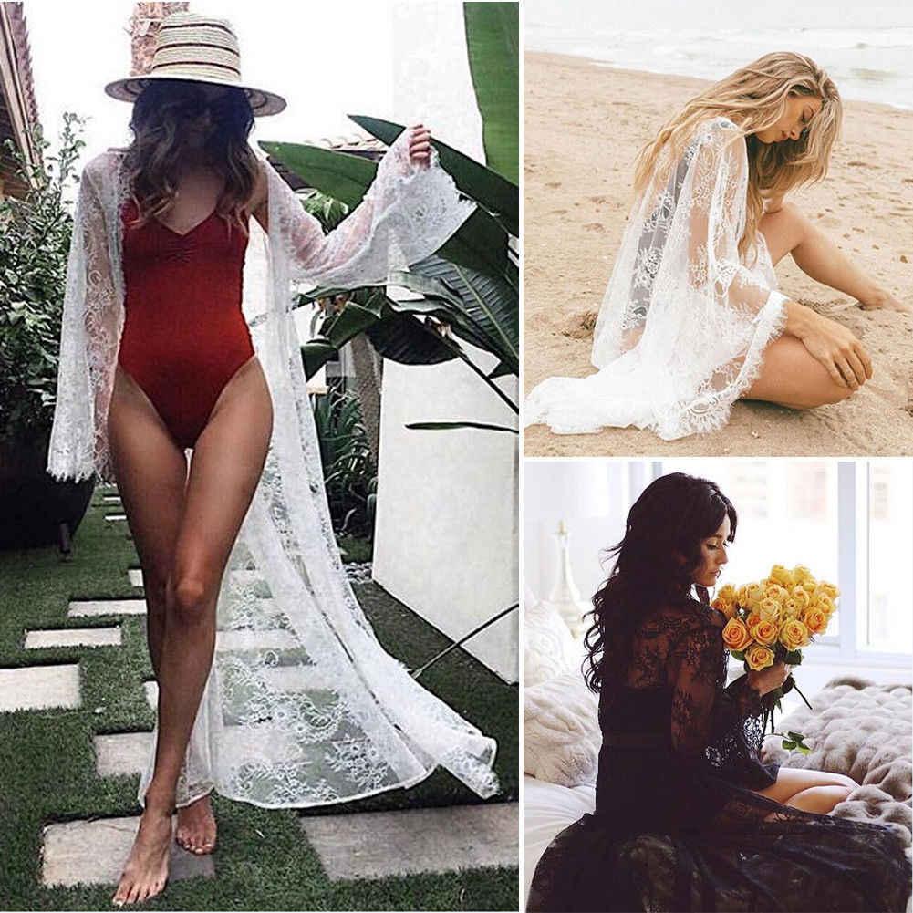 Hirigin Брендовое сексуальное платье 2019 Новое Женское шифоновое кимоно пляжный кардиган Кружевное белое сексуальное Элегантное Длинное платье новое пляжное платье