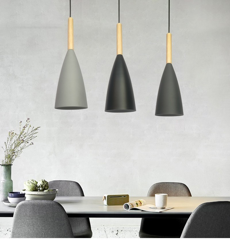 Wooden Nordic Pendant Lights Dining Room LED Pendant Lamps Modern Colorful Restaurant Coffee Bedroom E27 Hanging