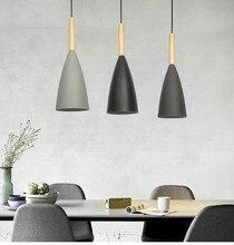 Деревянный скандинавские подвесные светильники Обеденная светодиодный Подвеска лампы современный красочный Ресторан Кофе Спальня E27 висит освещения