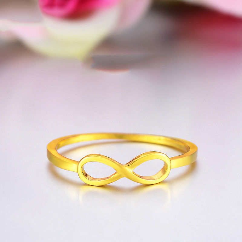 Solid 24K Yellow Gold Ring 3D Craft 8 Shape Womans Ring Size 4 Best GiftSolid 24K Yellow Gold Ring 3D Craft 8 Shape Womans Ring Size 4 Best Gift