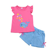 Baby Girls Casual Summer Sets Clothes Whale Print Short Sleeve T-shirt Tops+Plaid Shorts 2Pcs Outfits Cotton Girl Sets 2pcs baby girl set cotton t shirt baby girl clothes girls clothing sets short sleeve skirts casual 2pcs girls suits