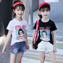 Children's fashion cartoon letter portrait cotton girl T-shirt 2019 summer new fashion short-sleeved round neck baby clothes(China)