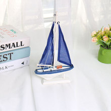 Wooden blue sailboat model Mediterranean series home decoration, sea going antique desktop craft gift ornaments