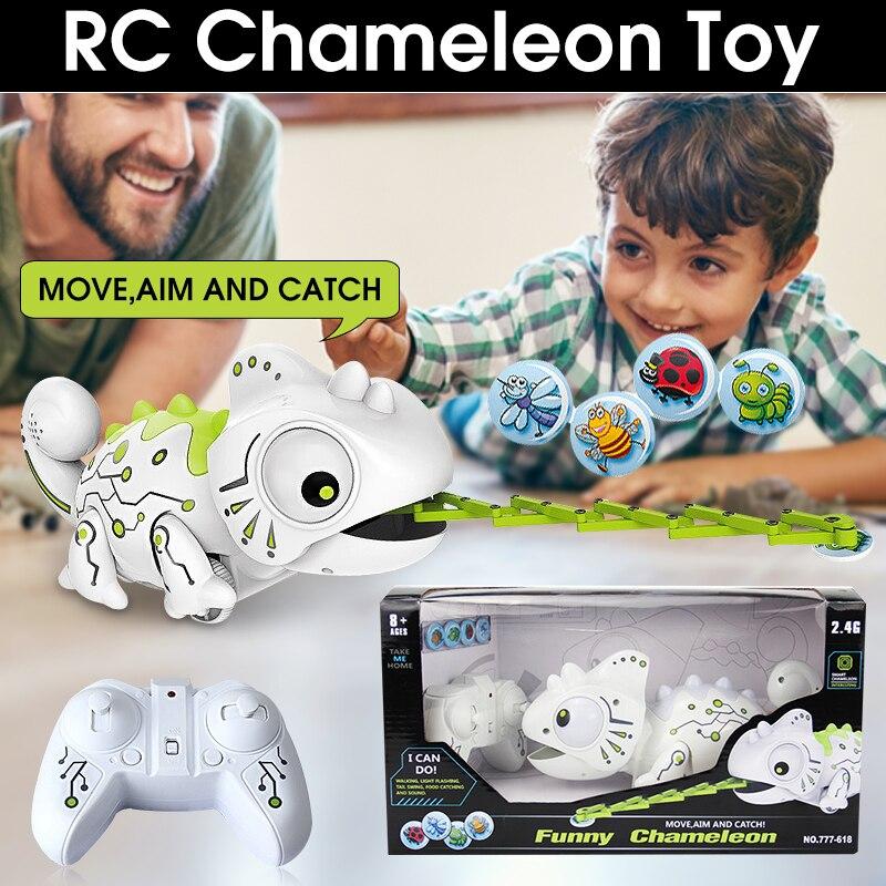 Sans fil Télécommande Robot Caméléon Pour Animaux de Compagnie Interactifs 2.4G Robot Caméléon Jouet Enfants Jouet Électronique Animal Cadeau D'anniversaire
