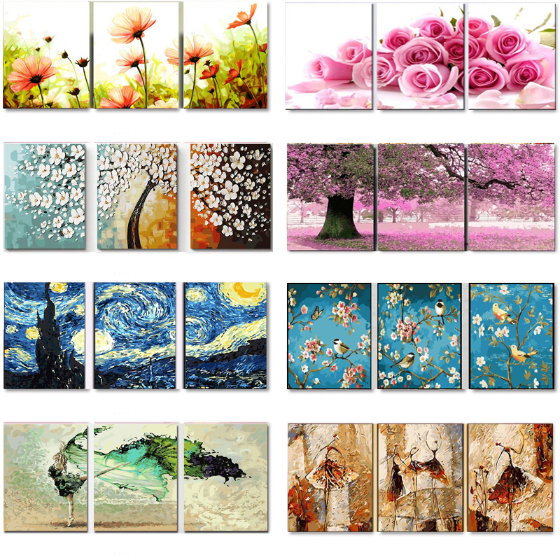 3 Pcs DIY Oil Painting By Numbers Flower Triptych Pictures Animal Coloring Landscape Abstract Paint Wall Sticker Home Decor Gift(China)