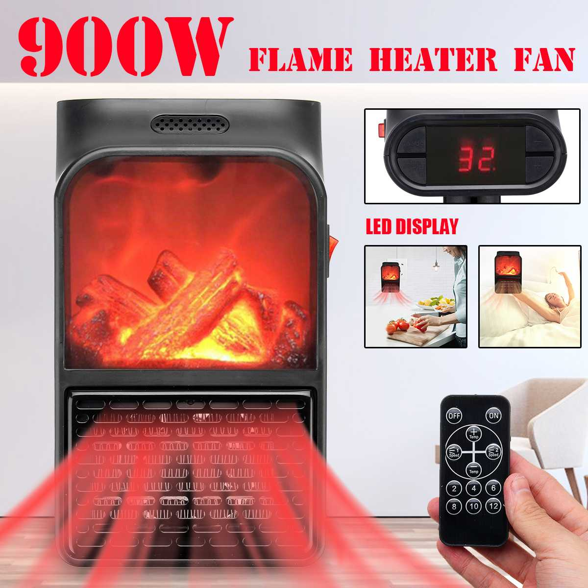 900W Mini Electric Wall outlet Flame Heater EU Plug in Air Warmer PTC Ceramic Heating Stove Radiator Household Wall Handy Fan Electric Heaters     - title=
