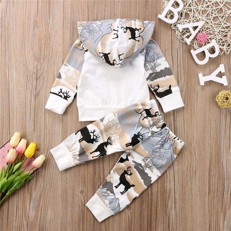Детская одежда Pudcoco, комплект одежды для новорожденных мальчиков и девочек: топ с капюшоном и рисунком оленя + штаны-леггинсы