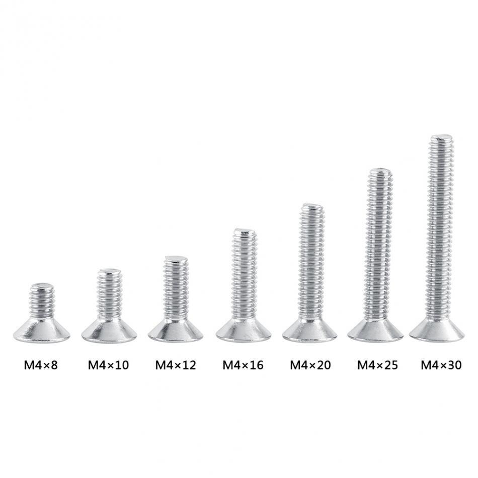 100 Pcs Nickel Plated Hex Socket Cap Head Self Tapping Screws Fasteners M4x20mm