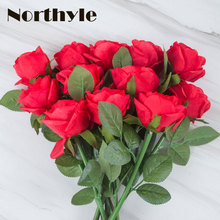 Dream house DH 10 pcs / lot  artificial rose flower red wedding decoration silk flowers home fake flores