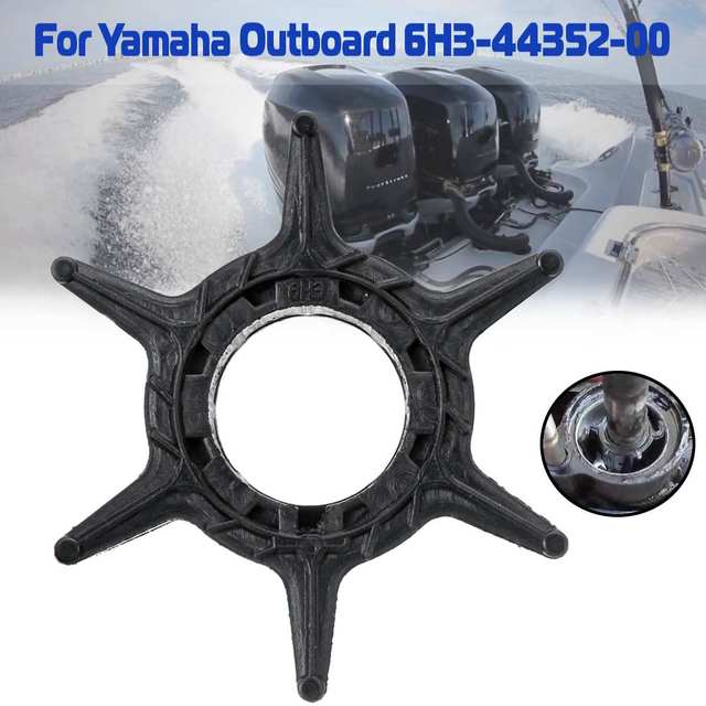 Outboard Motor Replacement 6H3-44352-00 for Yamaha 40-60HP Water Pump Impeller 6 Blades Black Rubber Diameter 52mm Accessories