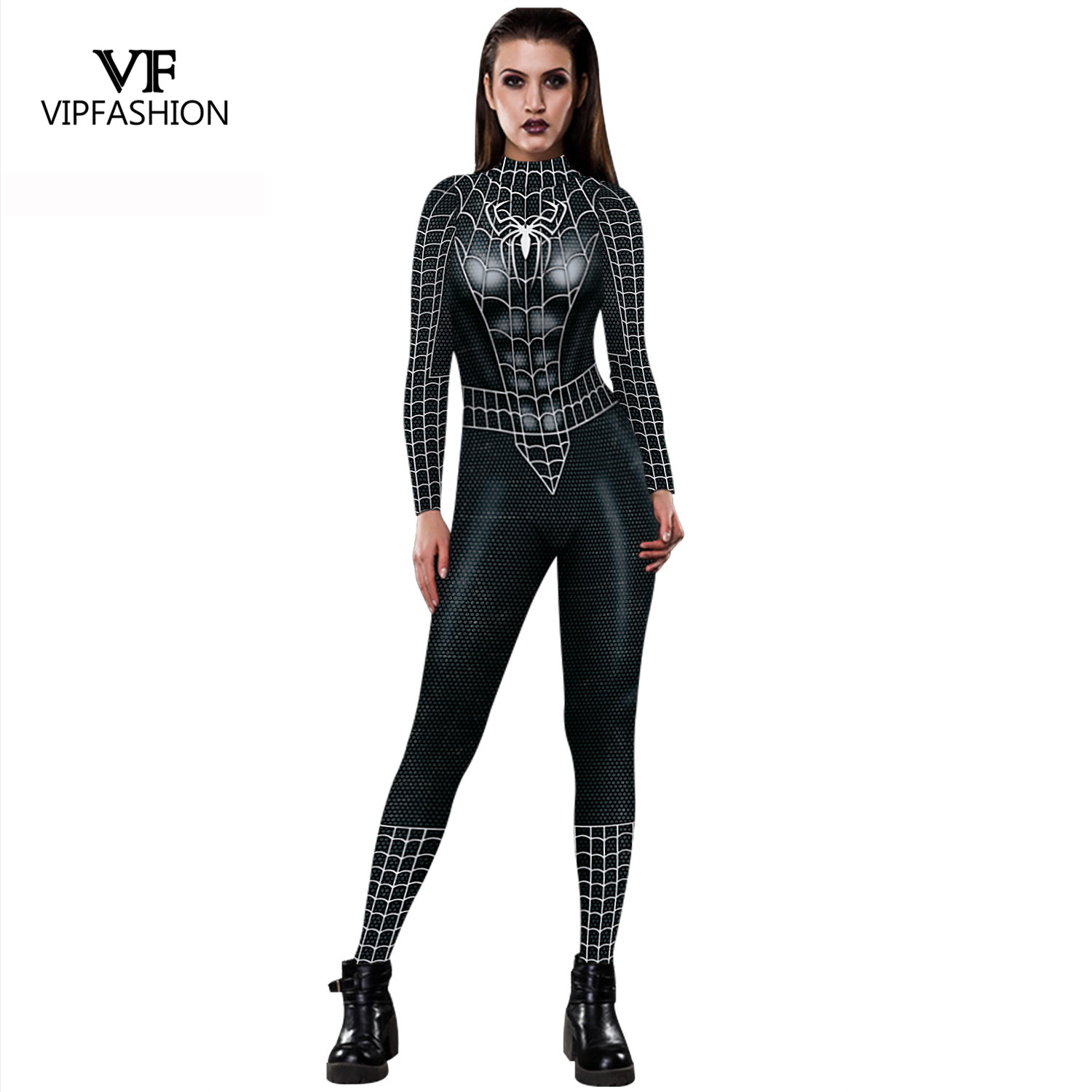 VIP FASHION 2019 New Cosplay 3D Black Spider Printed Super Hero Costume Women Movie Cosplay Bodysuit For Women