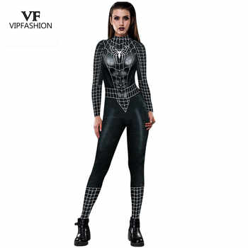 VIP FASHION 2019 New Cosplay 3D Black Spider Printed Super hero Costume Women Movie Cosplay Bodysuit For Women - Category 🛒 All Category