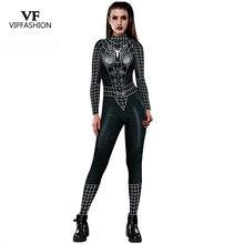 VIP FASHION 2019 New Cosplay 3D Black Spider Printed Super hero Costume Women Movie Cosplay Bodysuit For Women