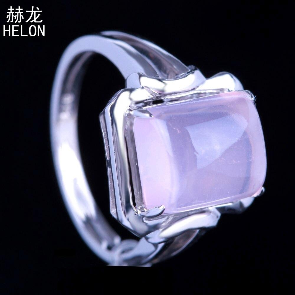 Argent Sterling 925 Lady bijoux impeccable 10x8mm coussin coupe fiançailles mariage dents véritable rose Quartz anneau couleur or blanc