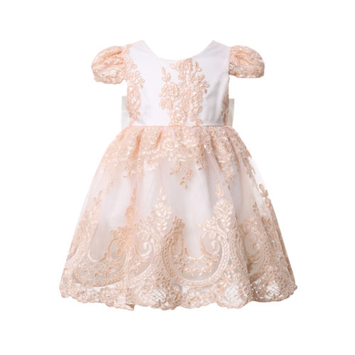 US Kids Baby Flower Girl Dress Lace Tulle Party Gown Bridesmaid Dresses Sundress