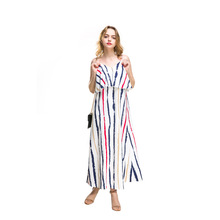 2019 hot womens European and American explosions strap printed chiffon dress free shipping