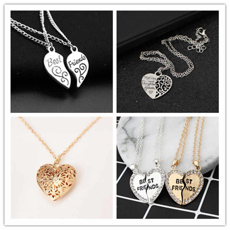 Fashon colar Amizade Imagem Medalhão Quadro Pingente para Colar Em Forma de Coração Romântico Moda Jóias Belo Presente para as meninas