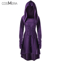 COSMERA Women Spring Fashion Bandage Back Costume Robe Femme Casual Lace Up Hooded Asymmetrical High Low Hooded Dress Vestidos
