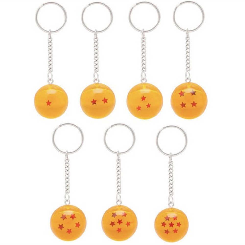 أنيمي غوكو لعبة دراغون بول سوبر المفاتيح ثلاثية الأبعاد 1-7 نجوم تأثيري كريستال سلسلة مفاتيح على شكل كرة جمع لعبة هدية حلقة رئيسية