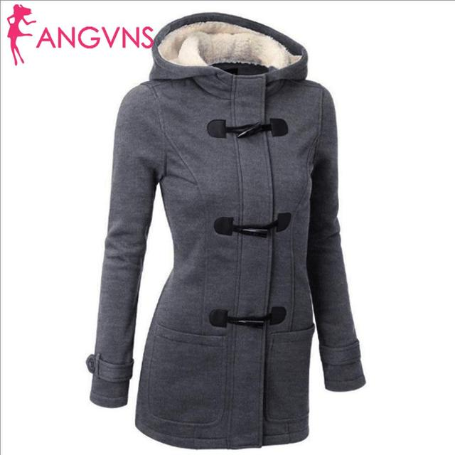 ANGVNS Women Overcoat Autumn Hooded Coat  Fashion Long Sleeve  Zipper Casual Regular Buckle Pockets Outwear