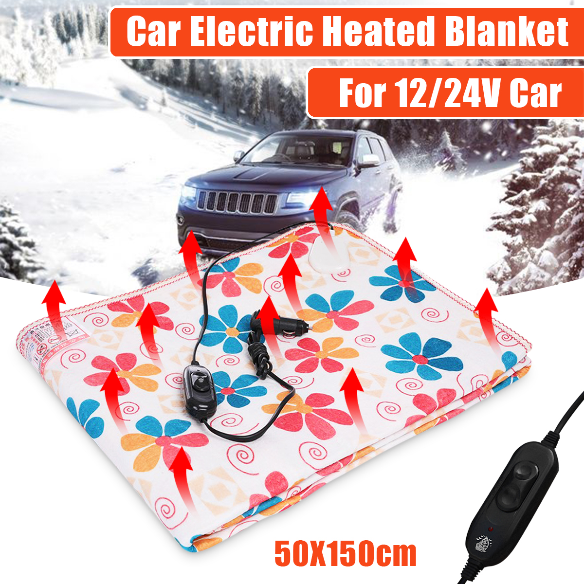 and Emergency Kits Black//White Electric Car Blanket Heated 12 Volt Fleece Travel Throw for Car and RV-Great for Cold Weather Tailgating