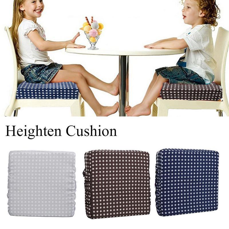 Kids Heightening Chair Cushion Non-slip Adjustable Detachable Sponge Linen Mat Baby Dining Chairs Heighten Pad Children Supplies