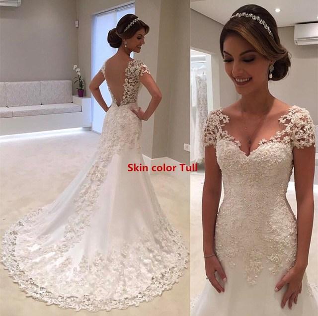 African Lace Appliques Mermaid Wedding Dresses 2019 Vestido De Noiva  Handmade Black Women Girls Short Sleeve Bridal Gowns 2a7f77959