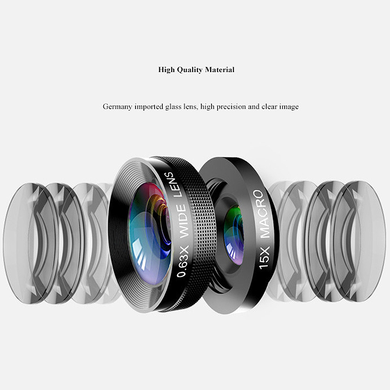 Image 3 - 4 In 1 Phone Lens 0.63X Wide Angle Macro Fish Eye Telephoto Zoom Lens For Samsung S8 S9 Plus Phone Camera Lens Kit-in Camera Lens from Consumer Electronics