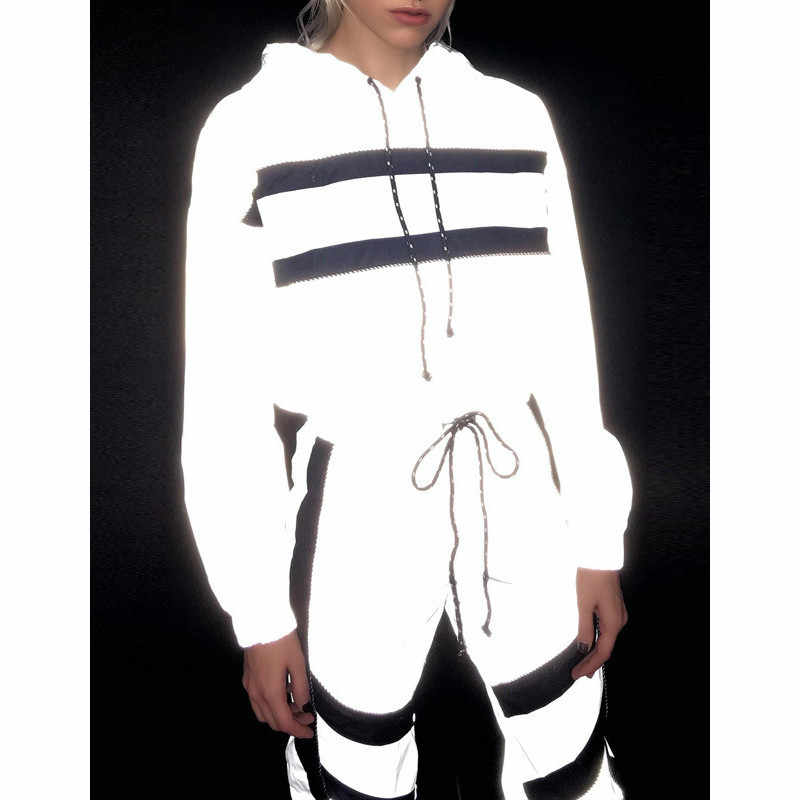 3M Reflective Set Two Pieces Tracksuit Women Winter HIP HOP Streetwear Clothing Sets Jogger Club Hoodie Sweat Suits