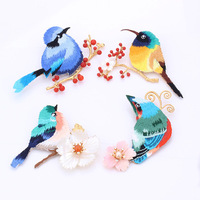 Free shipping Chinese embroidery birds Zircon brooch for women