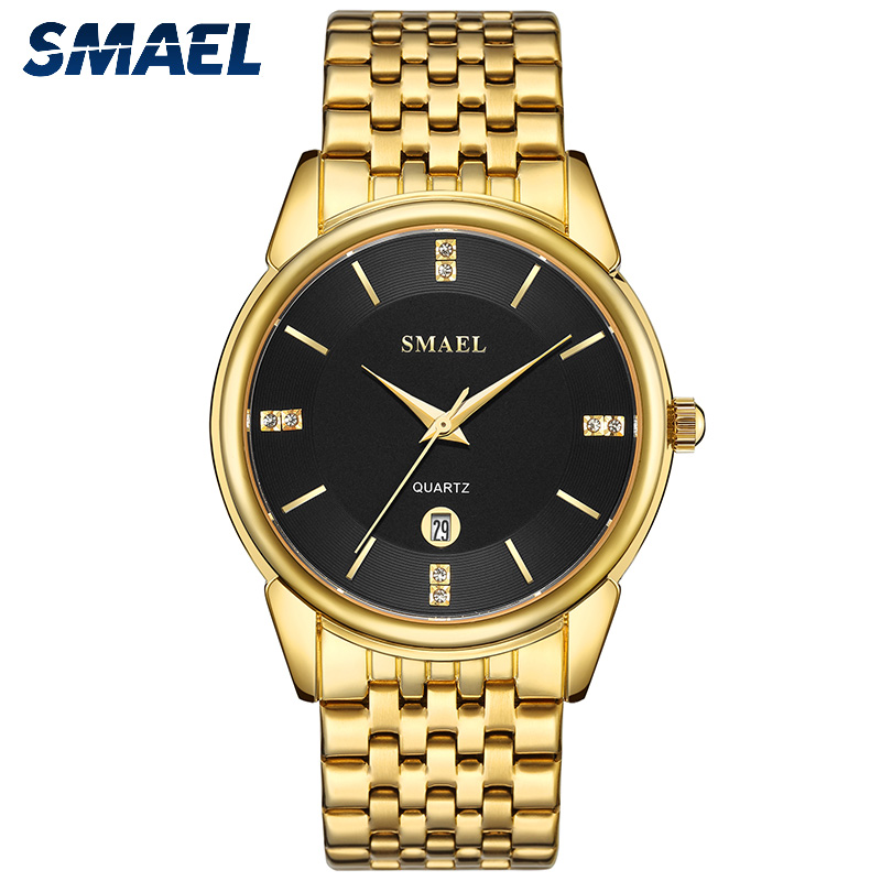 SMAEL Quartz Wristwatches Men Clock Digital Gold Sport Waterproof Genuine Big 9026 Sliver