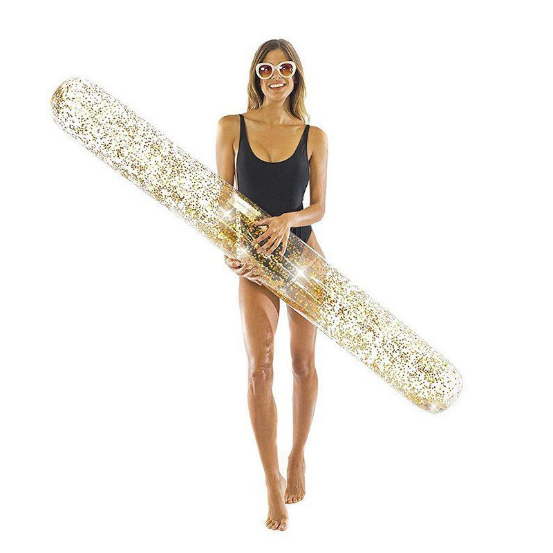 180CM Holographic Glitter Giant Swimming Pool Float Sparkly Super Noodle Inflatable Pool Rafts Stick Beach Party Buoy