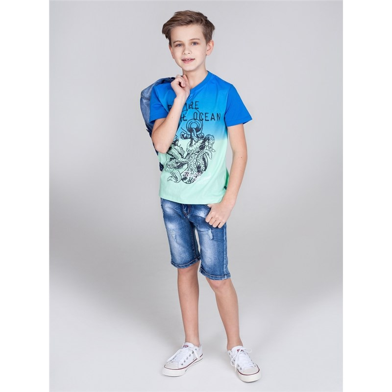 Shorts Sweet Berry Boys denim shorts children clothing kid clothes raw hem stripe side ripped denim shorts