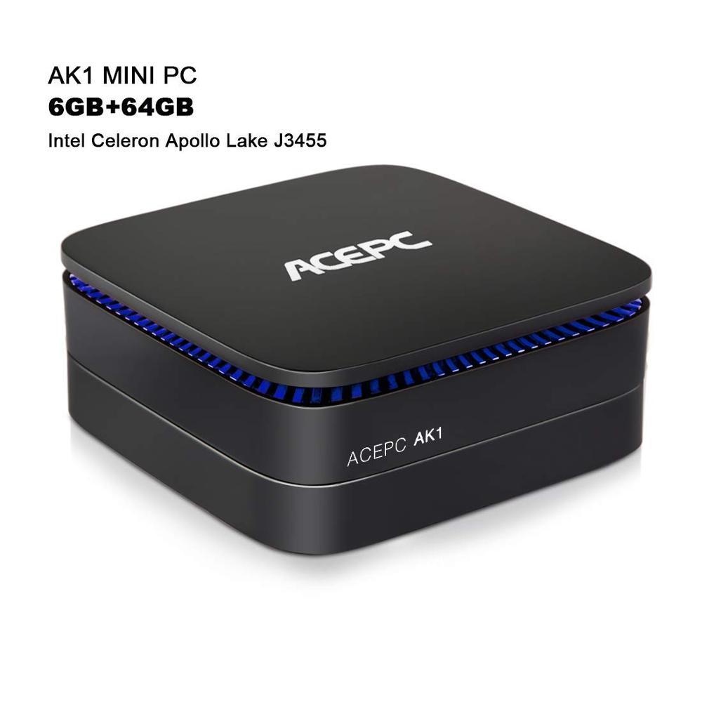 AK1 6 GB/64 GB mini pc Gagner 10 Gigabit Ethernet Intel Celeron Apollo Lac J3455 Processeur (jusqu'à 2.3 GHz) ordinateur de bureau ACEPC