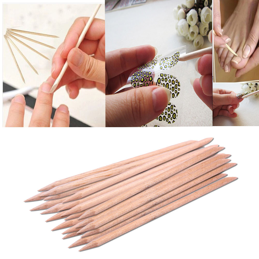 New 100pcs/set Orange Women Lady Double End Nail Art Wood Stick Cuticle Pusher Remover Pedicure Manicure Tool