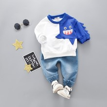цены на Spring Autumn Infant Clothing Kids Cartoon T-shirt Pants 2Pcs/Sets Fashion Children Cotton Tracksuit Baby Boys Girls Clothes  в интернет-магазинах