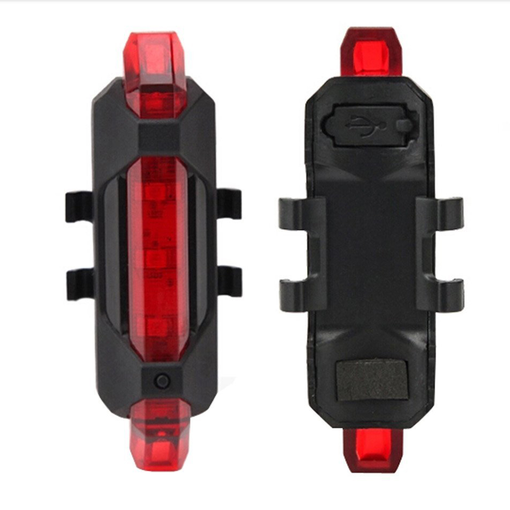 Waterproof USB Rechargeable 4 Modes High Brightness Bicycle LED Rear Tail Light Back Lamp (Red)