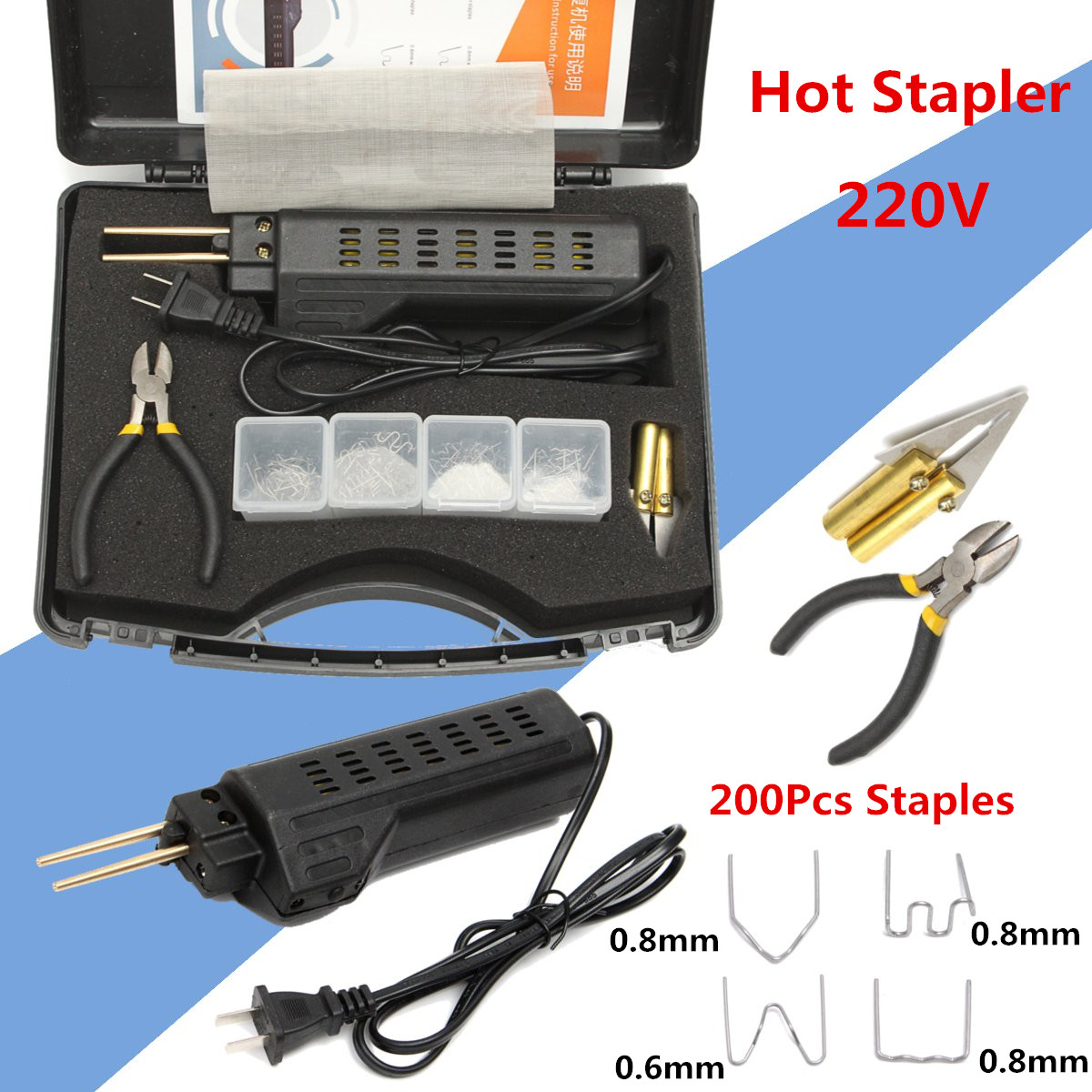 Welding Equipment Plastic Welders 200 Staples New 220-250v Hot Stapler Car Bumper Plastic Welding Torch Fairing Auto Body Tool Welder Machine 0.6/0.8mm
