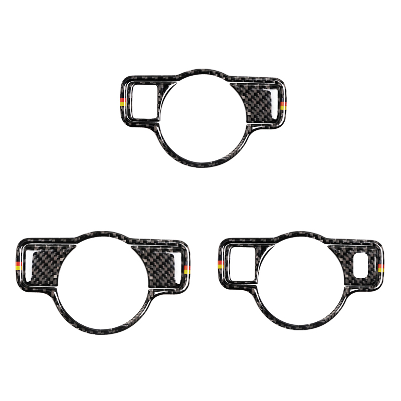 For Mercedes Benz A B C E G GLA GLK GLS ML Class 3pcs/Set Carbon Fiber Car Headlight Switch Frame Cover