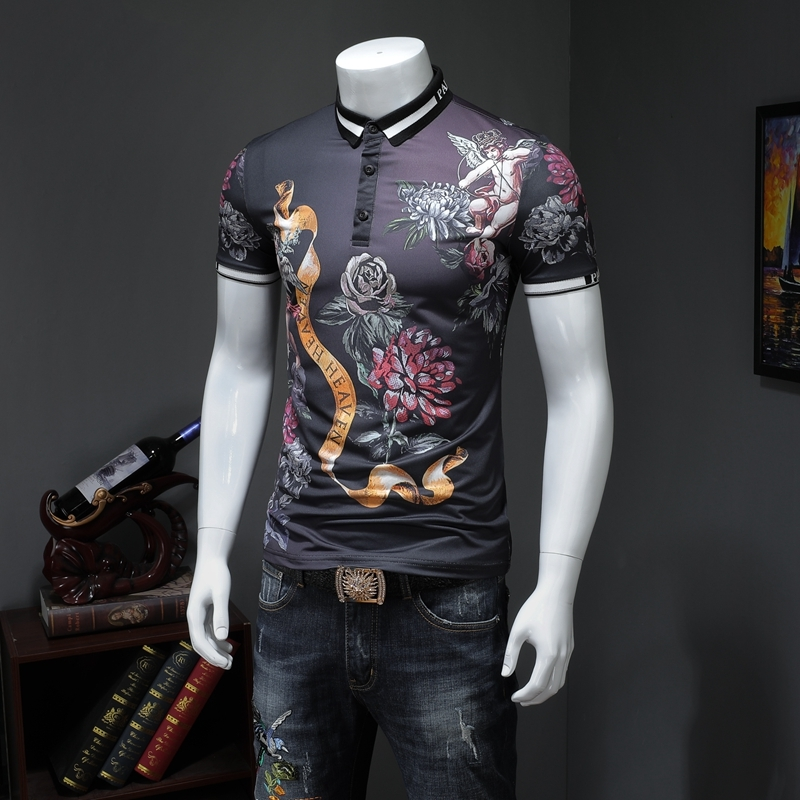 2019 Sommer Kurzarm Polo Shirt Slim Fit Drehen Unten Kragen Streetwear Fashion Print Männer Polo Business Formale Tragen Homme Geschickte Herstellung