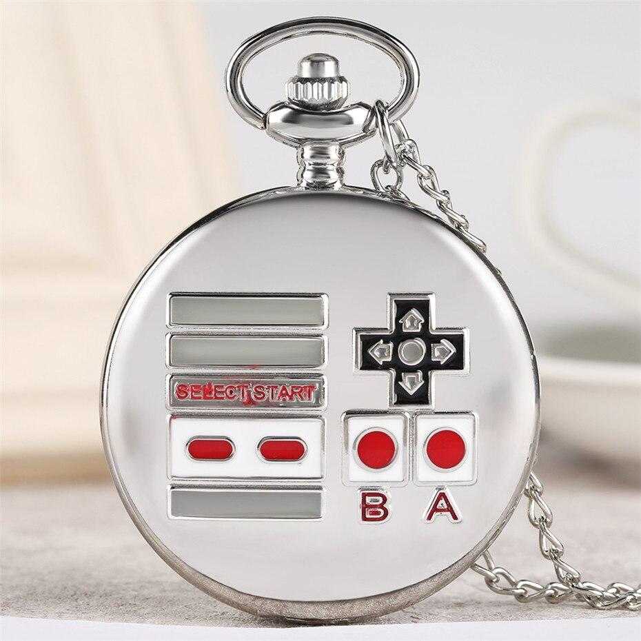 New Arrivals 2019 Gamepad Design Quartz Pocket Watch Exquisite Pendant Clock Silver Necklace Watch For Men Women Children