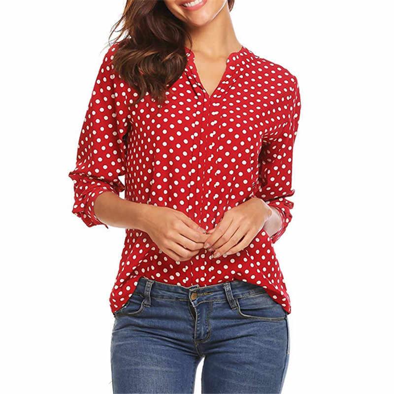 Polka Dot şifon uzun kollu artı boyutu bayan üstleri ve bluzlar 5XL kırmızı pembe sarı siyah mavi beyaz bayanlar ofis gömlek