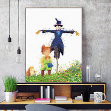 Japanese Anime Watercolor Howl's Moving Castle Poster Miyazaki Children's House Decoration Picture Canvas Painting Cartoon Art(China)
