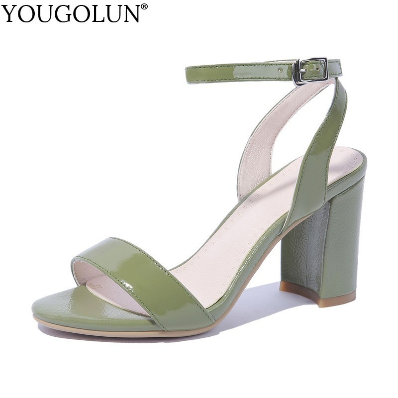 8.5cm High Heel Sandals Women Patent Leather 2019 Summer A186 Ladies High Thick Heels Sexy Woman Ankle Strap Green Party Shoes8.5cm High Heel Sandals Women Patent Leather 2019 Summer A186 Ladies High Thick Heels Sexy Woman Ankle Strap Green Party Shoes