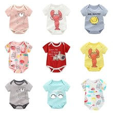 Summer Thin Cotton Short-sleeved Cartoon Printed Romper Infant Baby Boy Girl Jumpsuit Newborn Baby Clothing baby short sleeve one piece dress baby romper newborn infant cotton romper boy girl animal printed jumpsuit kids clothes outfit